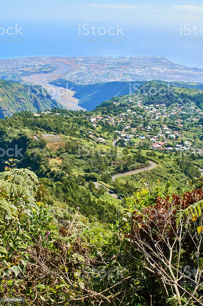Le Port village in La Reunion Island stock photo