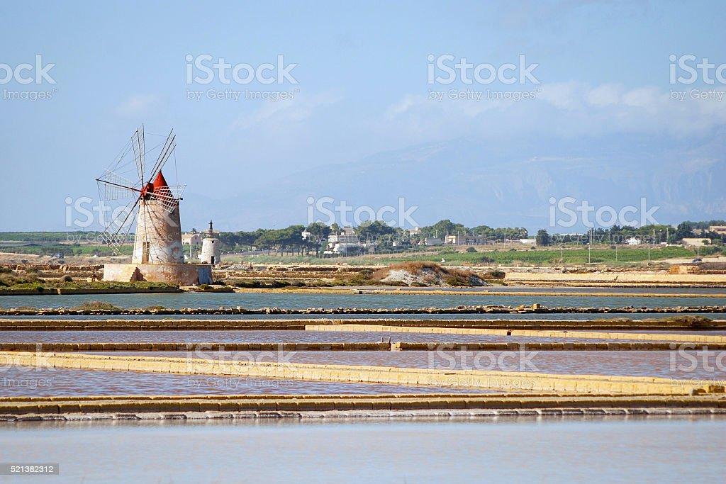 Le saline di Marsala stock photo