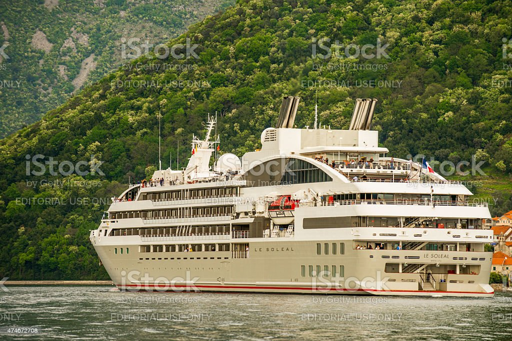 Le Sol?al is a cruise ship in Bay of Kotor, stock photo