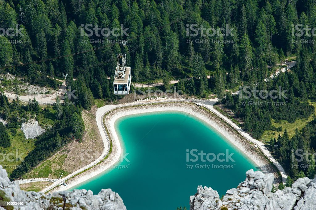 Le Tofane Lake, Dolomites stock photo