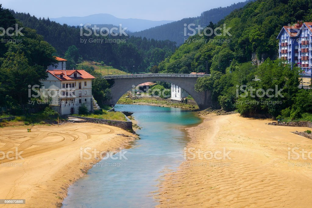 Lea river and bridge in Lekeitio stock photo