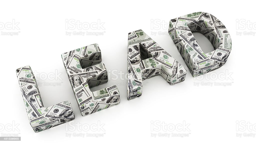 Lead 3D text from money, isolated on white background stock photo