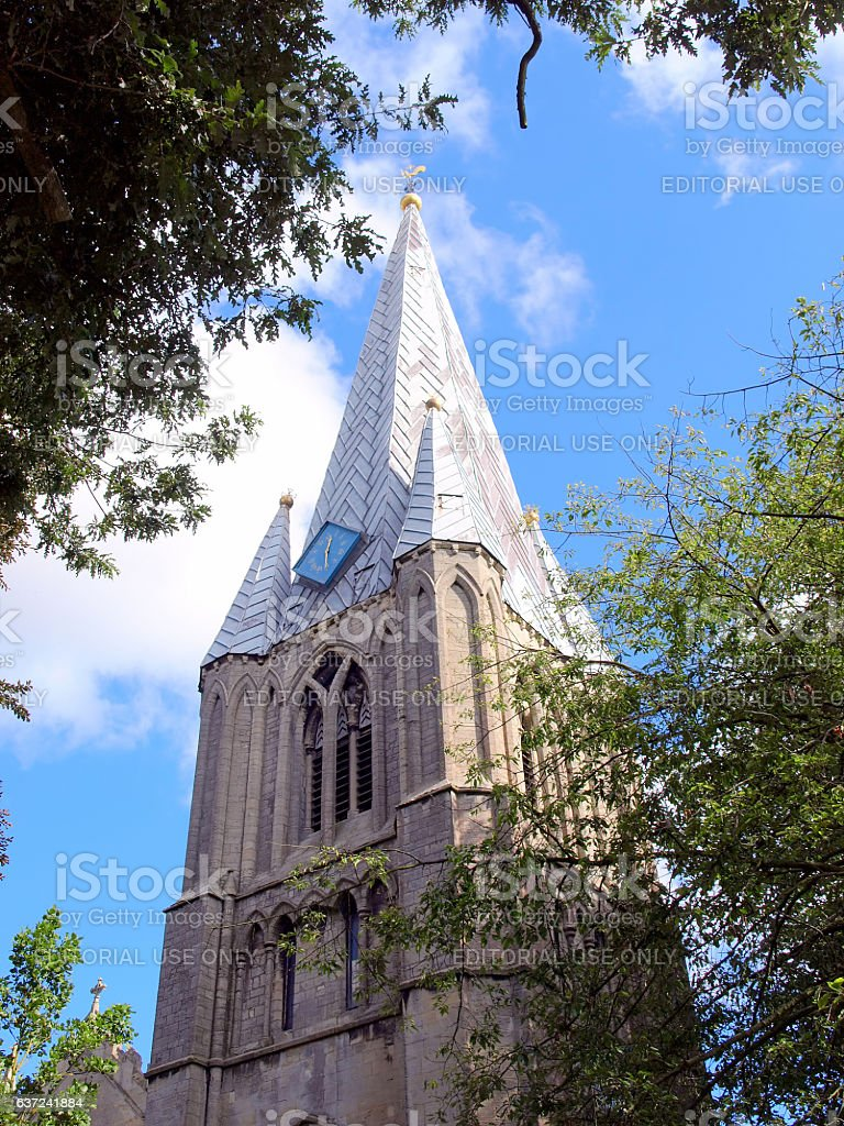 Lead covered wooden spire. stock photo
