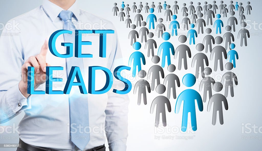 Lead generation with businessman stock photo