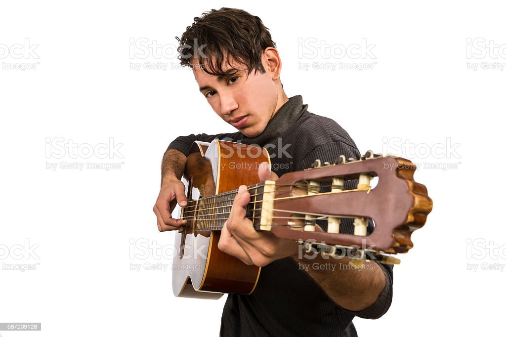 Lead guitarist. Isolated on the white background. stock photo