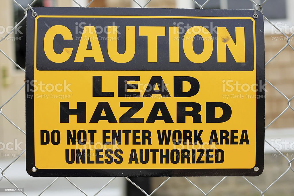 Lead Hazard Sign stock photo