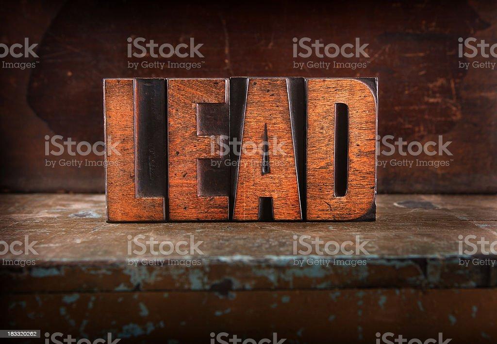 Lead - Letterpress letters stock photo