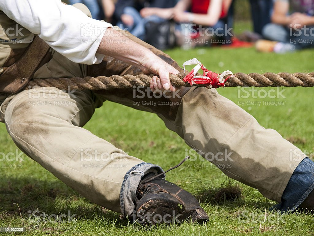 Lead man in Tug of War contest stock photo