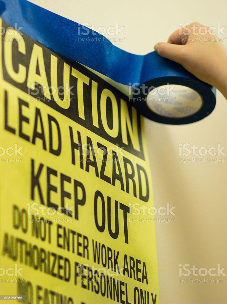 Lead Paint Hazard Warning stock photo