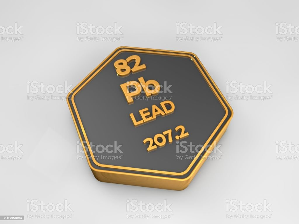 Lead - Pb - chemical element periodic table hexagonal shape 3d render stock photo