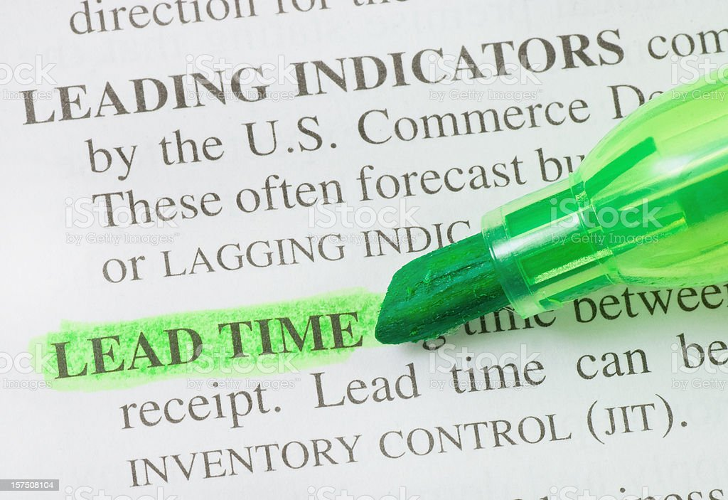 Lead time defintion highligted in dictionary stock photo