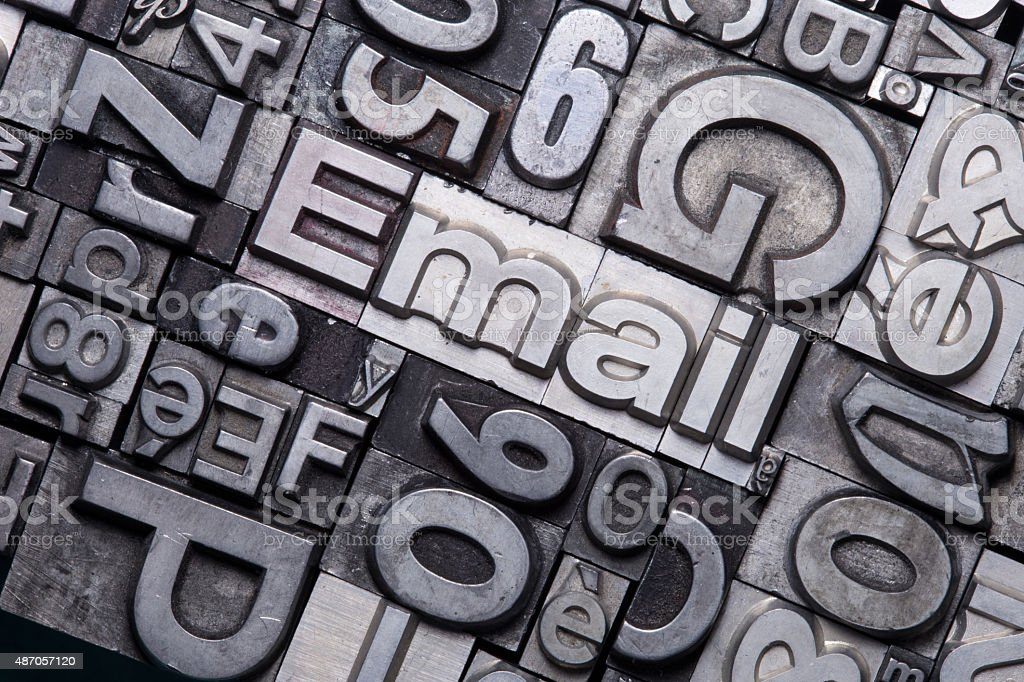 lead type letters stock photo