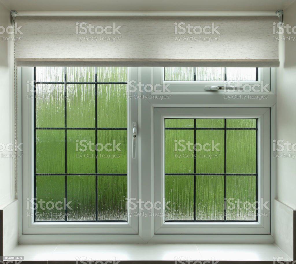 leaded glass bathroom window royalty-free stock photo
