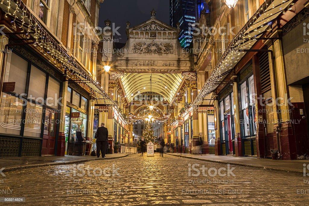 Leadenhall Market at Christmas stock photo