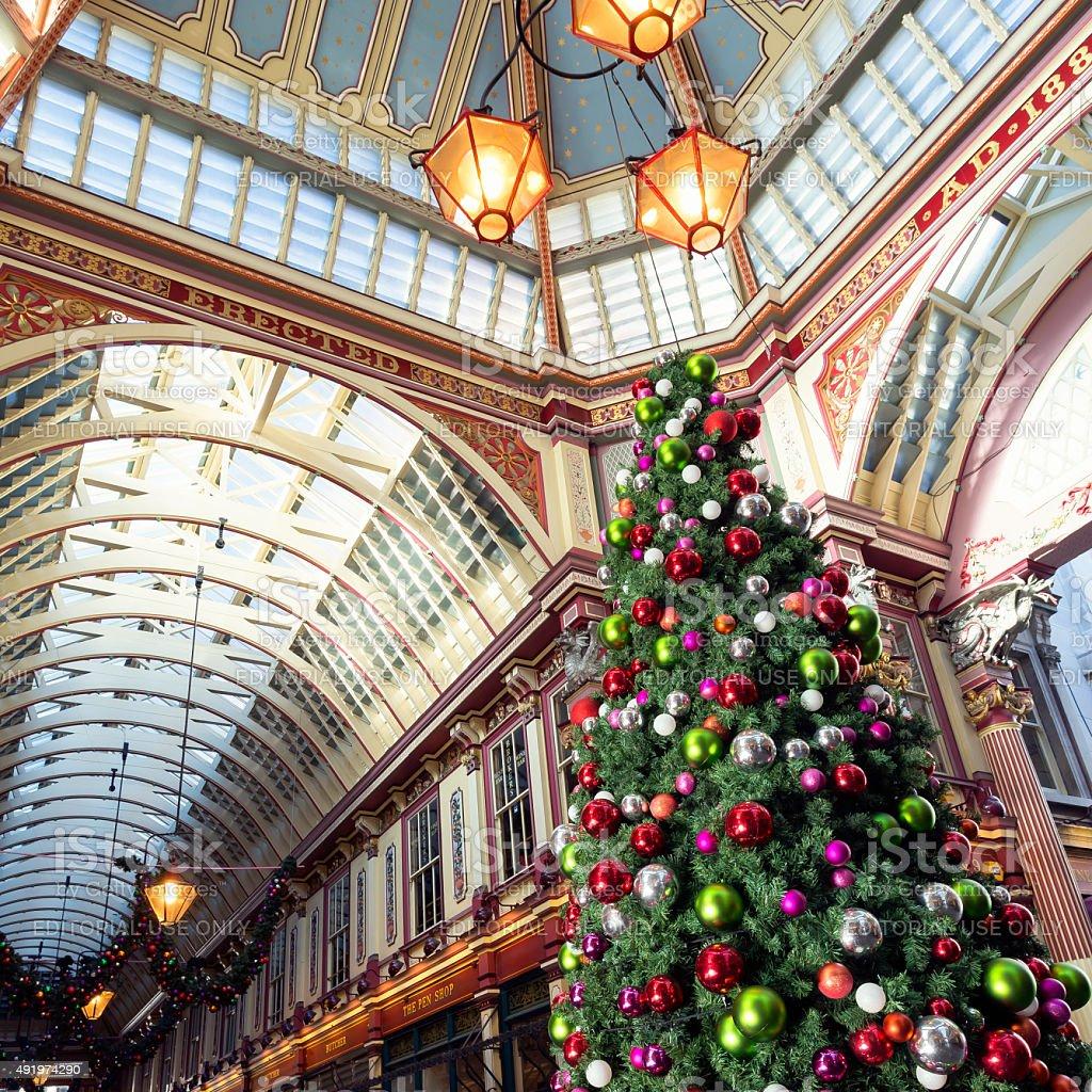 Leadenhall Market during Christmas Holidays. stock photo