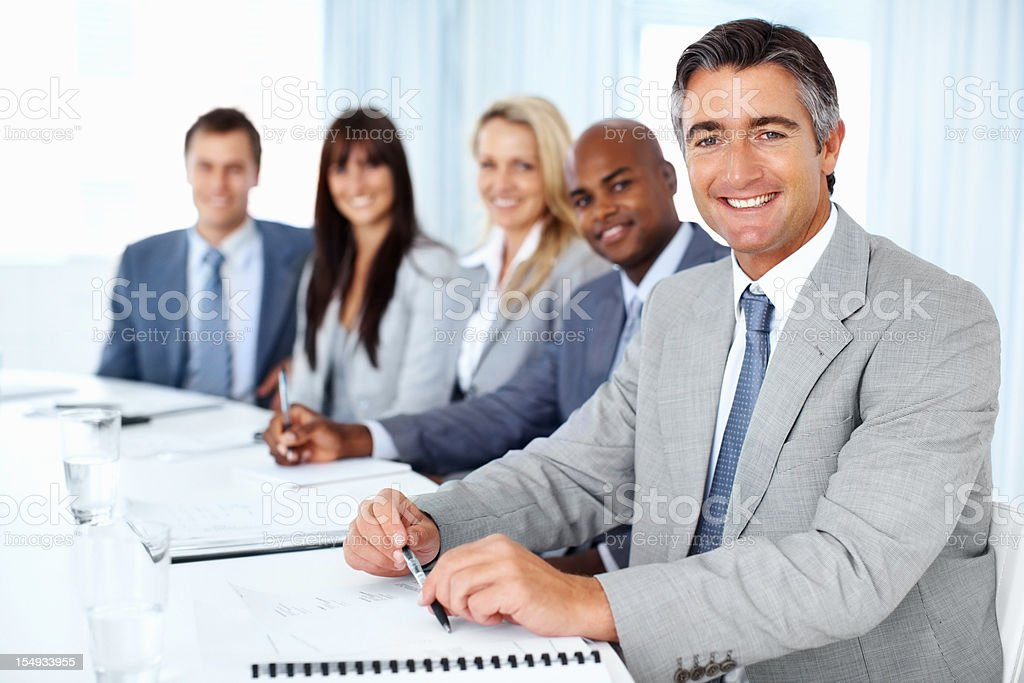 Leader and successful business team royalty-free stock photo
