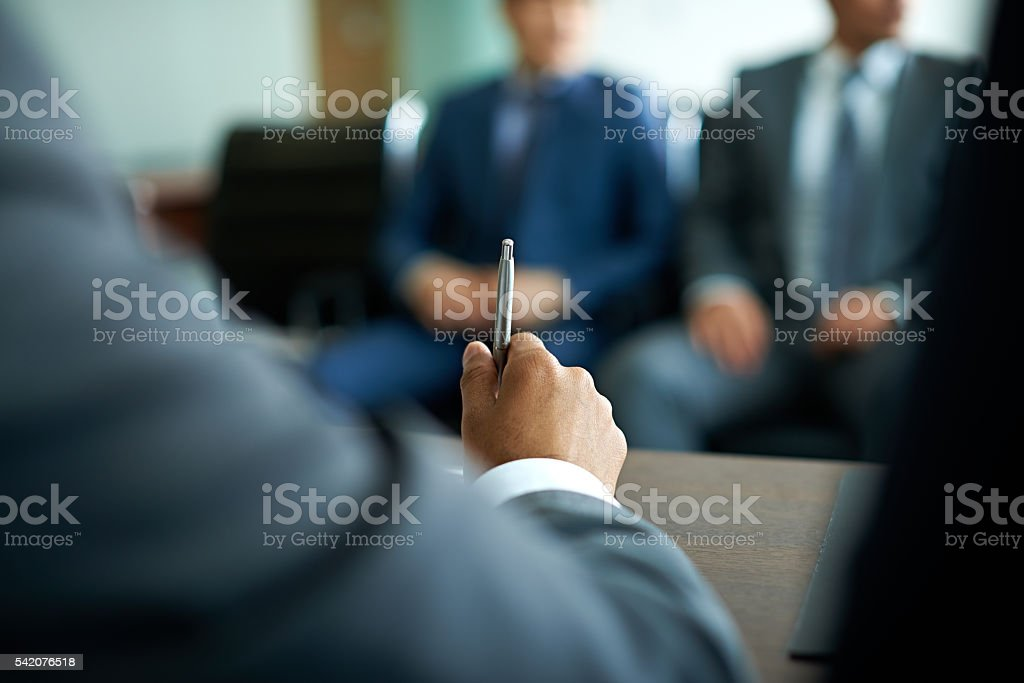 Leader at meeting stock photo