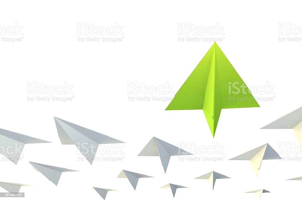 Leader, best, different and unique paper airplane stock photo