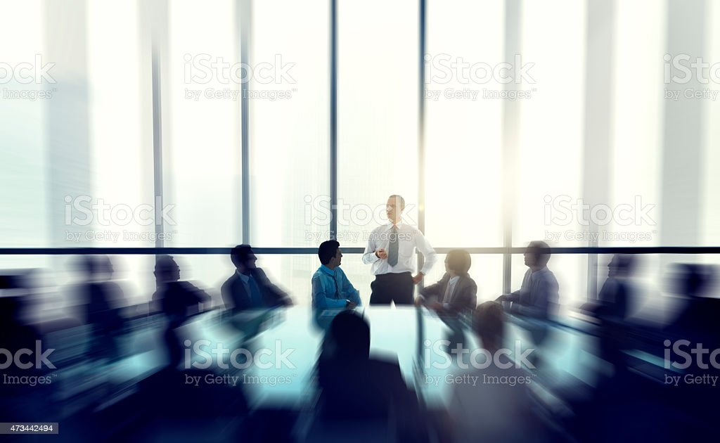 Leader Business People Giving Speech Conference Concept stock photo