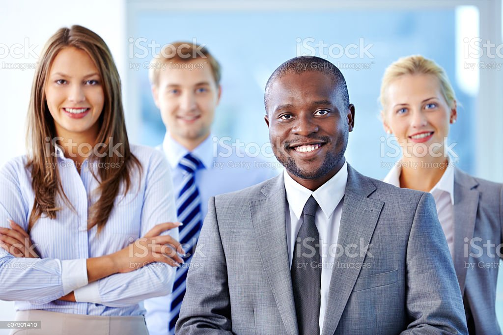 Leader of business team stock photo