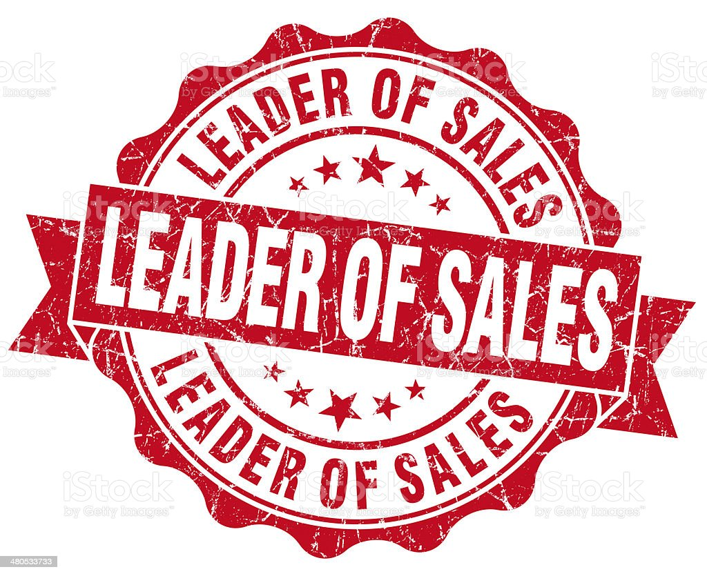 Leader of sales grunge red vintage round isolated seal stock photo