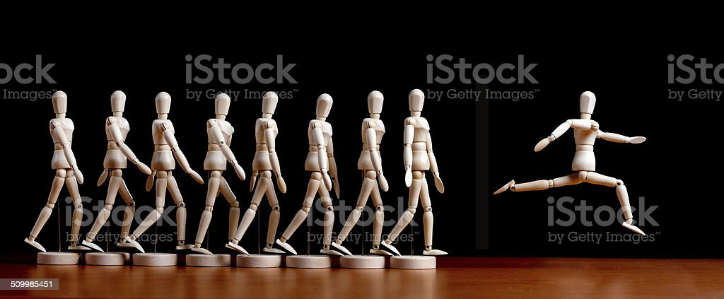 Leader of the pack! Marionette leaps into the lead stock photo