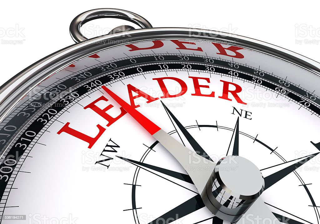 leader red word on concept compass stock photo