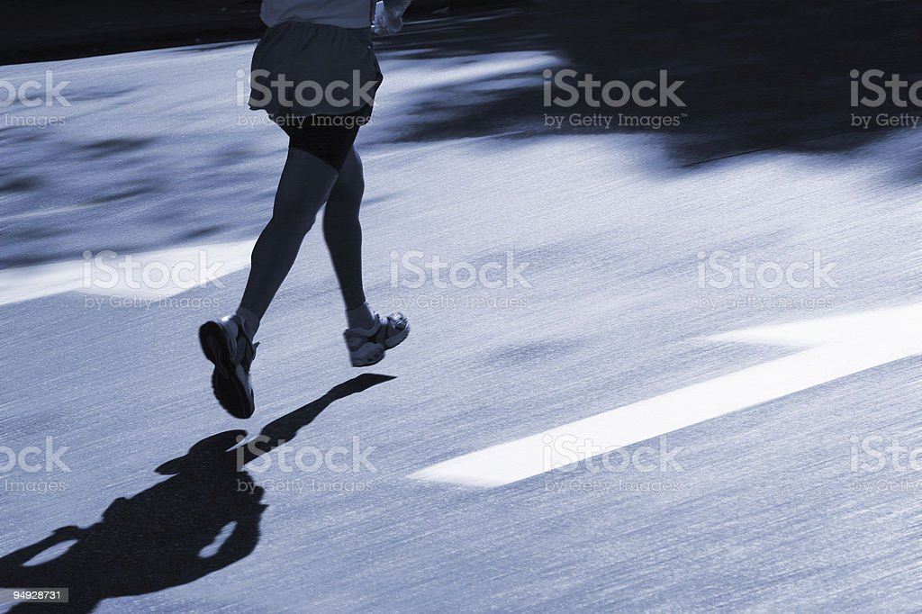 Leader running on street royalty-free stock photo