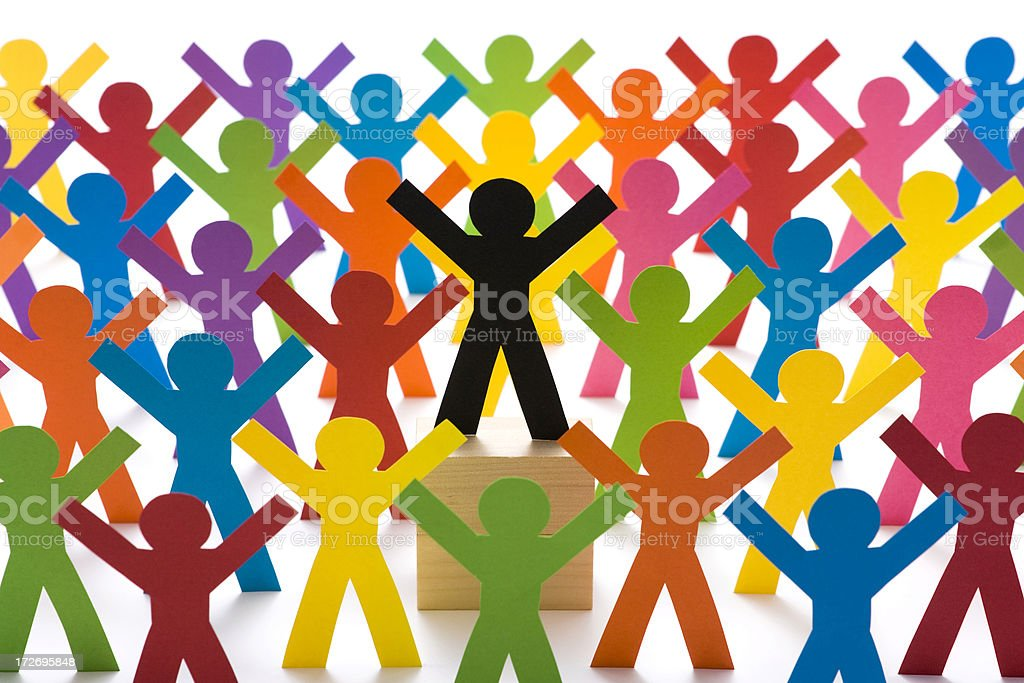 Leader surrounded by supporters royalty-free stock photo