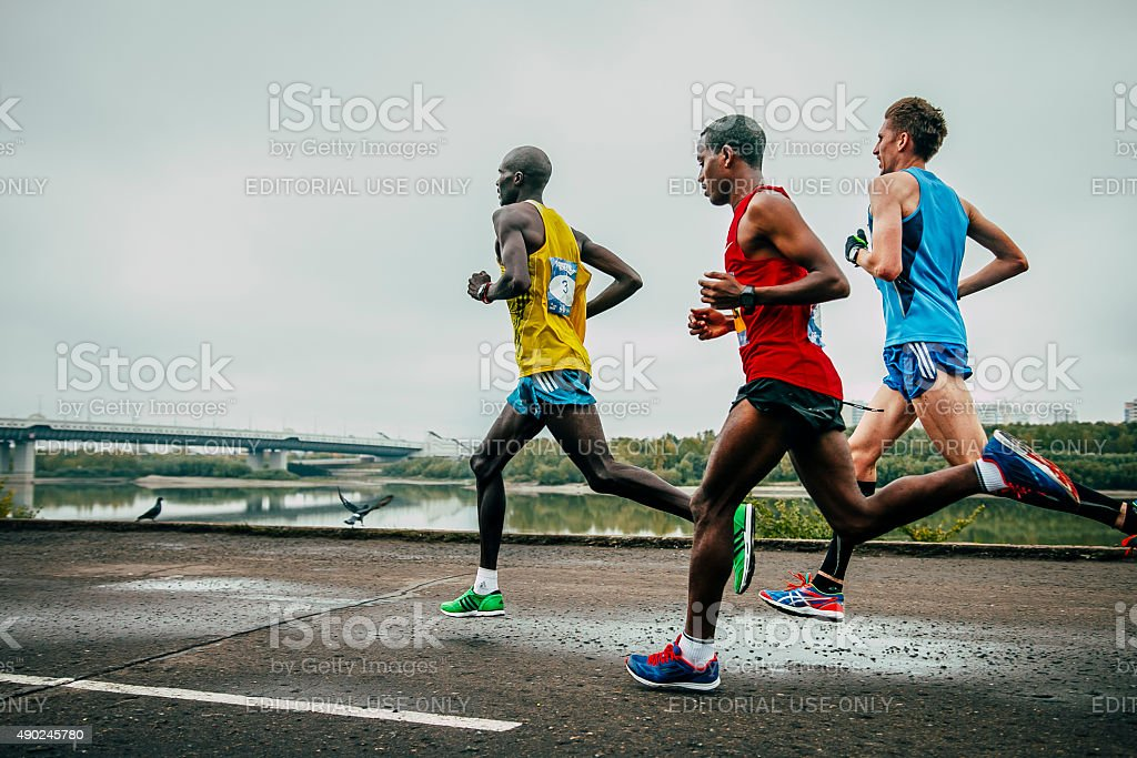 leaders of the marathon running stock photo