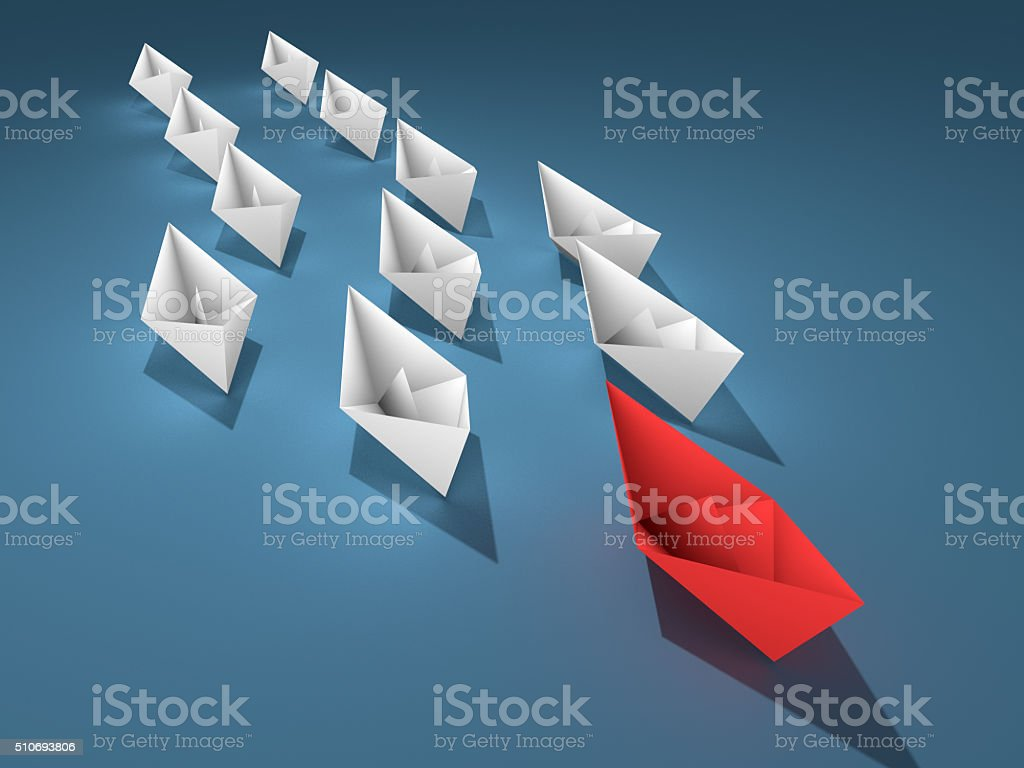 Leadership concept. 3d paper boats stock photo