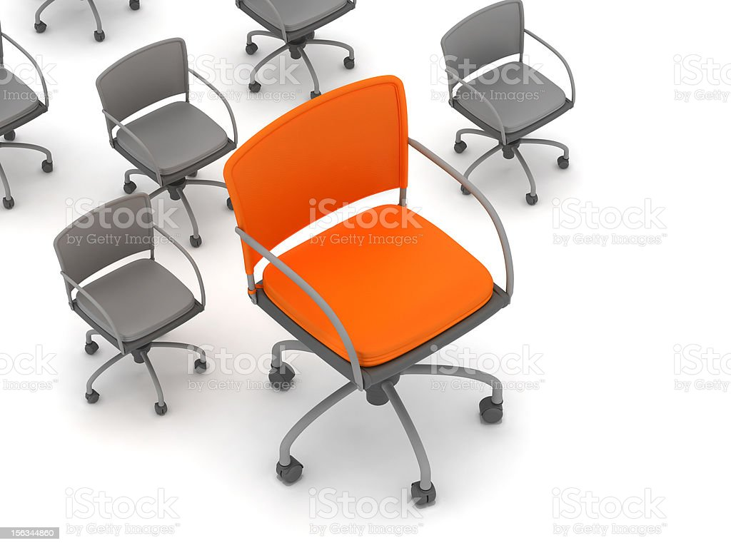 Leadership concept - chairs; orange and gray royalty-free stock photo