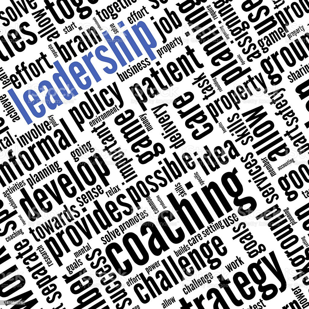 Leadership concept in word tag cloud stock photo