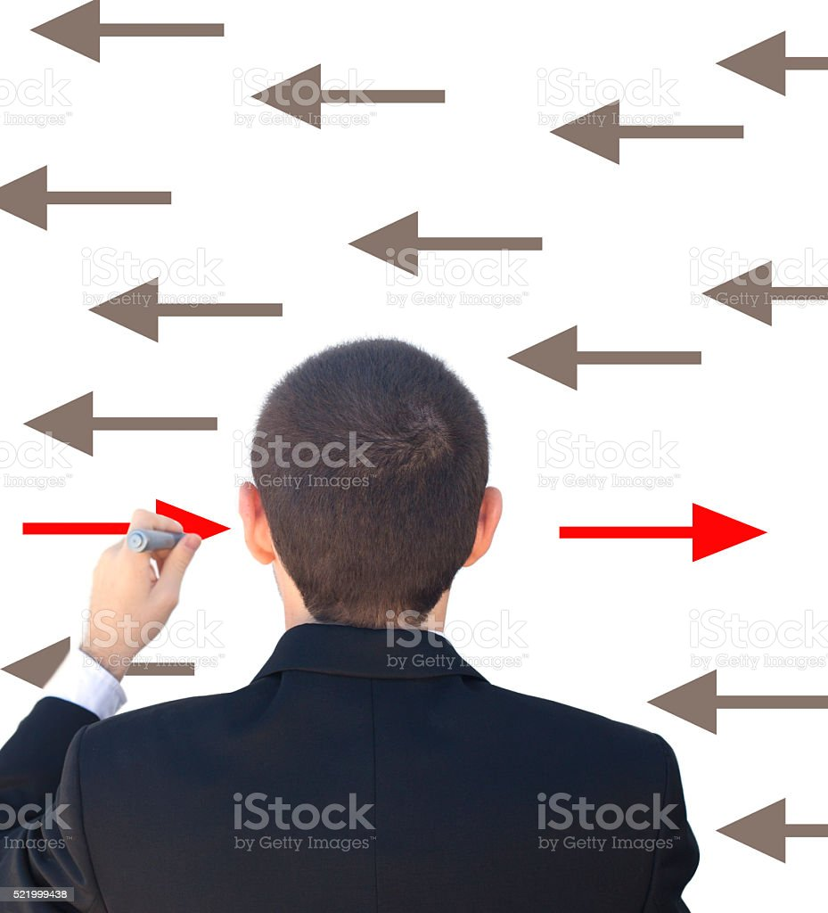 Leadership concept- new direction stock photo