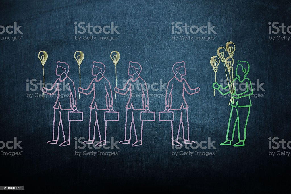 Leadership concept on blackboard stock photo