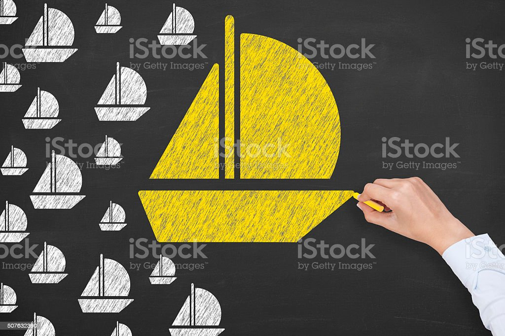 Leadership Concept on Chalkboard stock photo