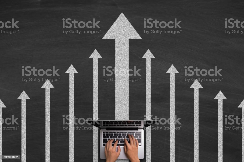 Leadership Concept With Laptop On Blackboard stock photo