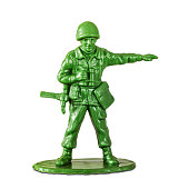 Leadership concept with little soldier toy on white background aiming