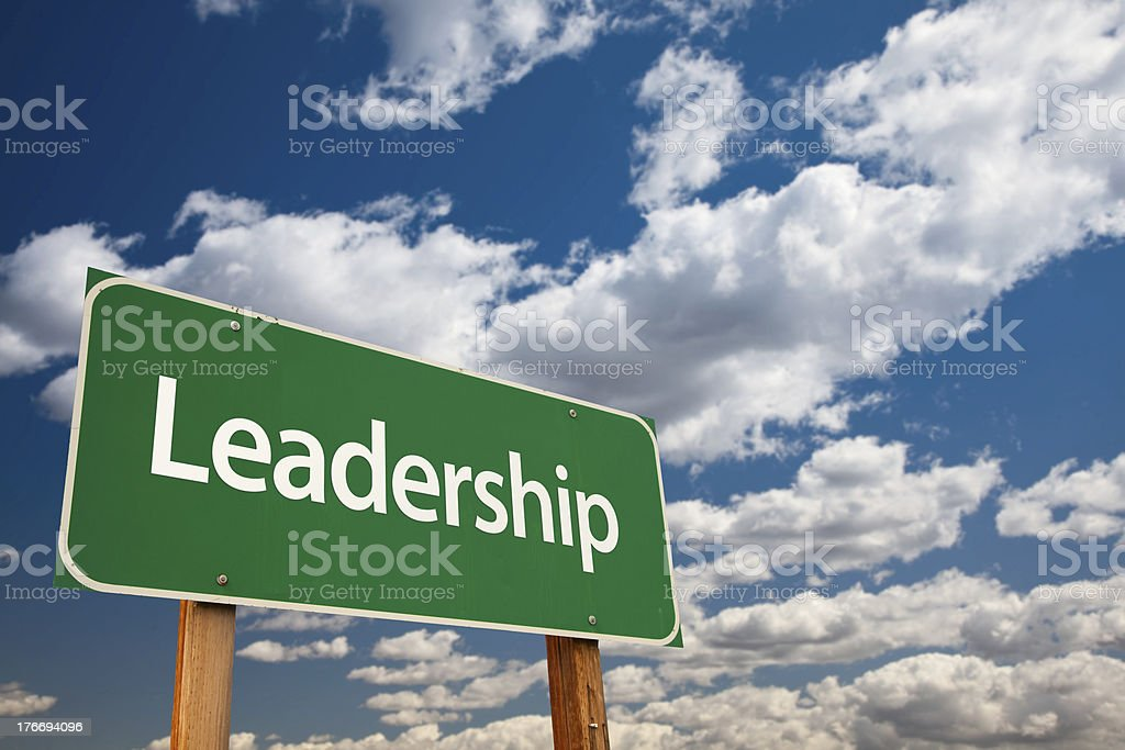 Leadership Green Road Sign royalty-free stock photo