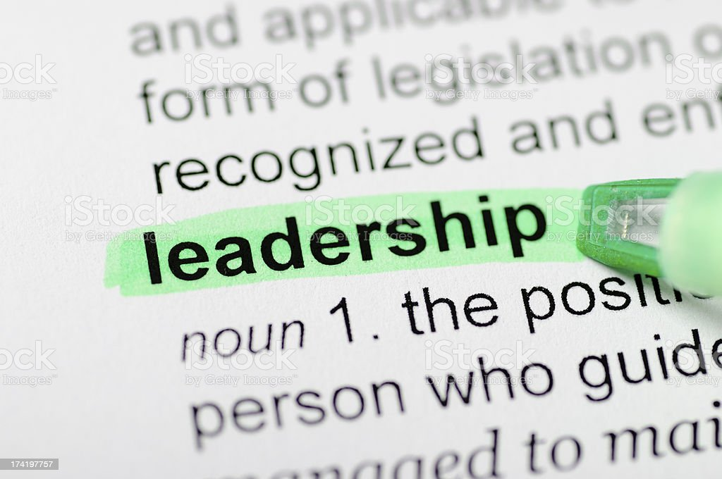 Leadership highlighted in dictionary royalty-free stock photo
