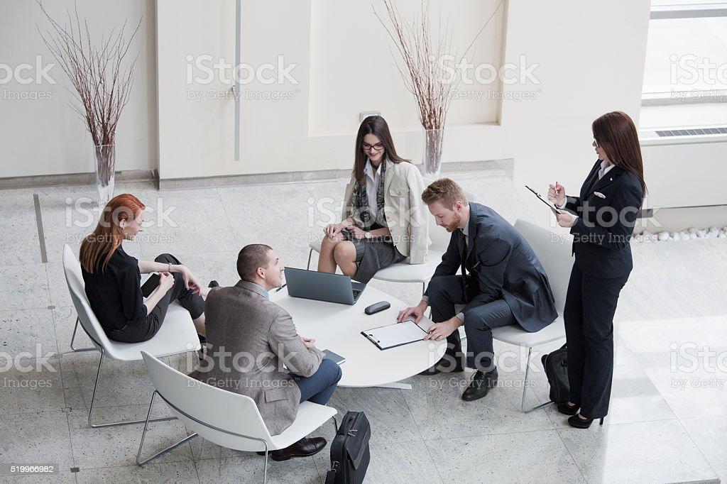 Leadership - mentoring meeting stock photo