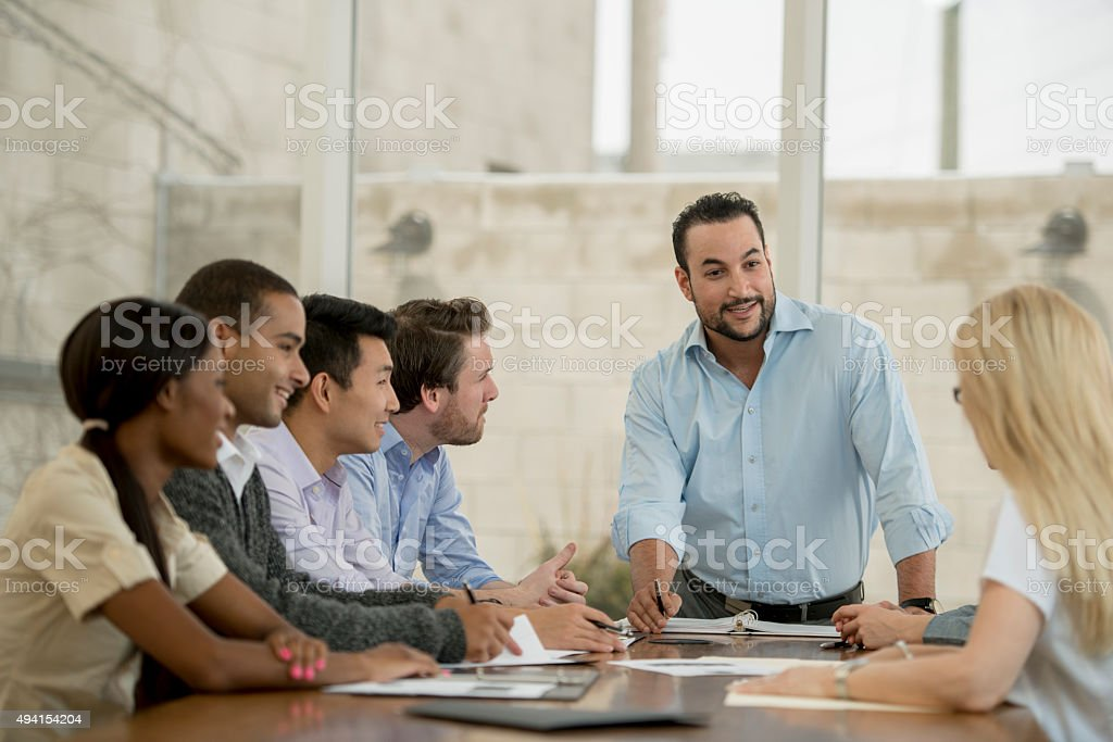Leading a Boardroom Meeting stock photo