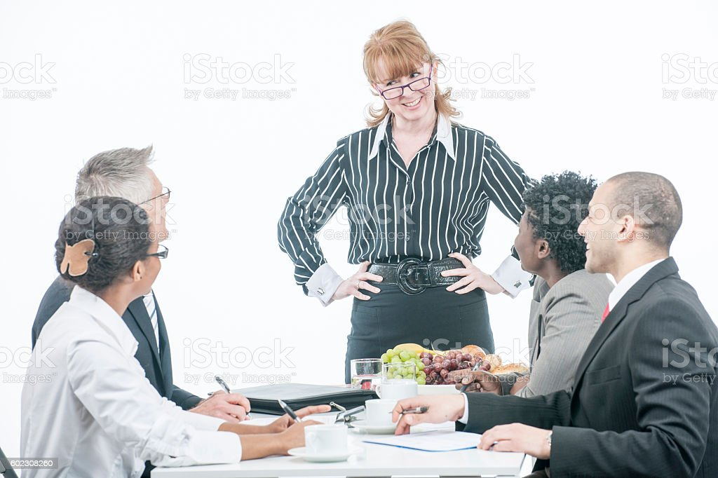 CEO Leading a Business Meeting stock photo