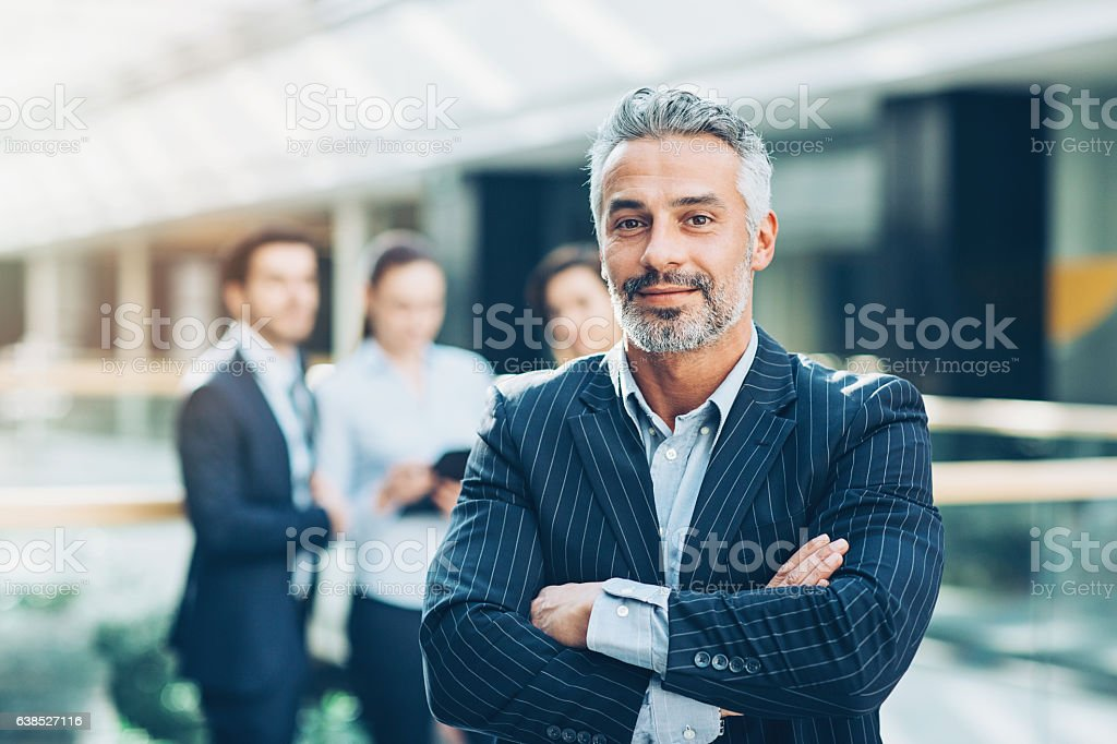 Leading a team of professionals stock photo