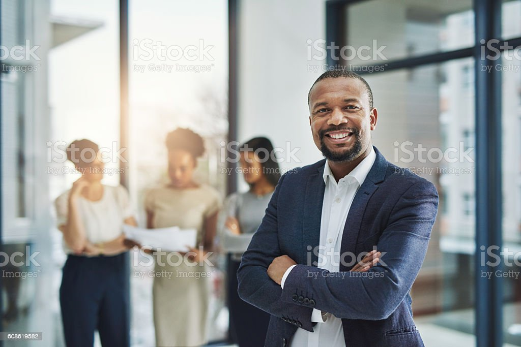 Leading a team of world class professionals stock photo
