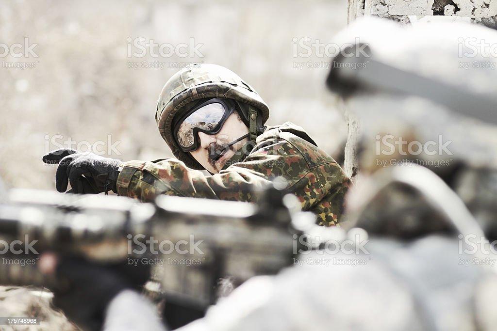 Leading his platoon royalty-free stock photo