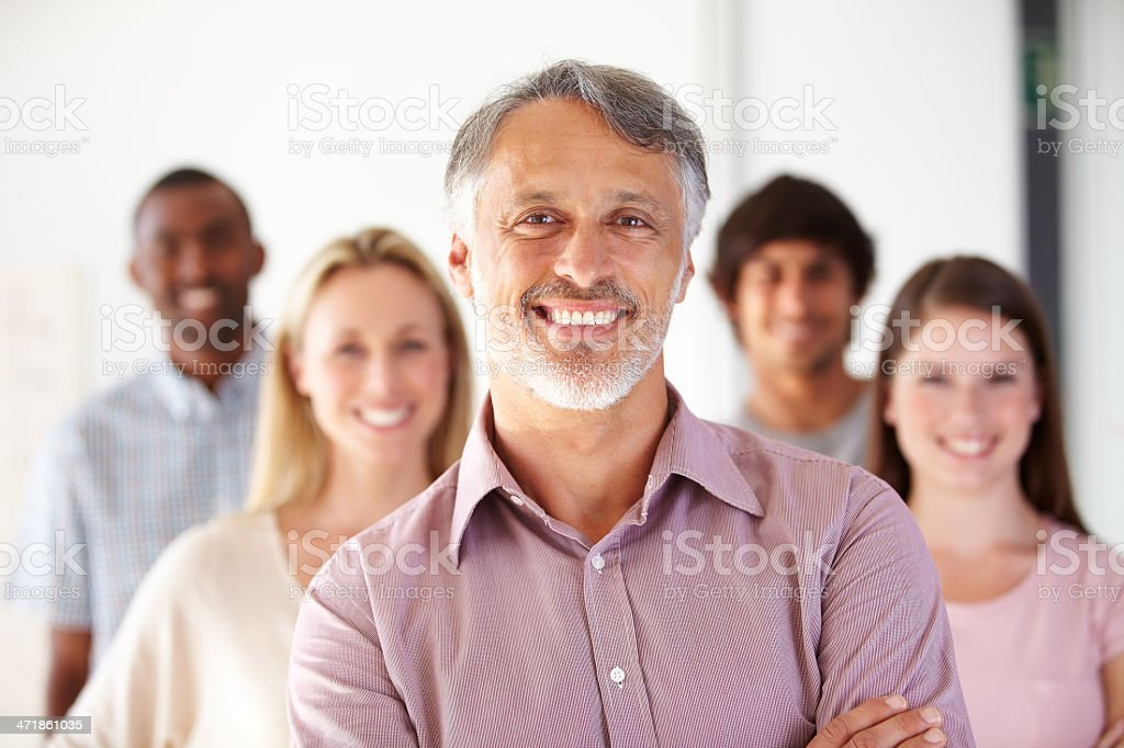 Leading his team by example royalty-free stock photo