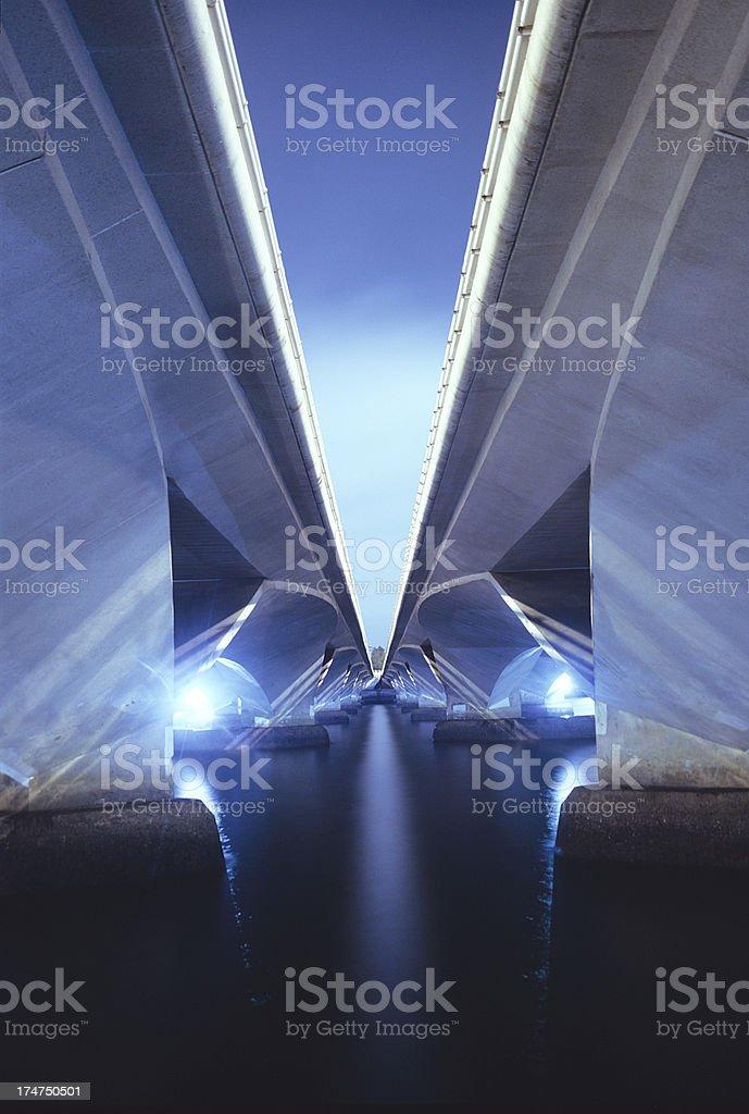 Leading lines of a bridge stock photo