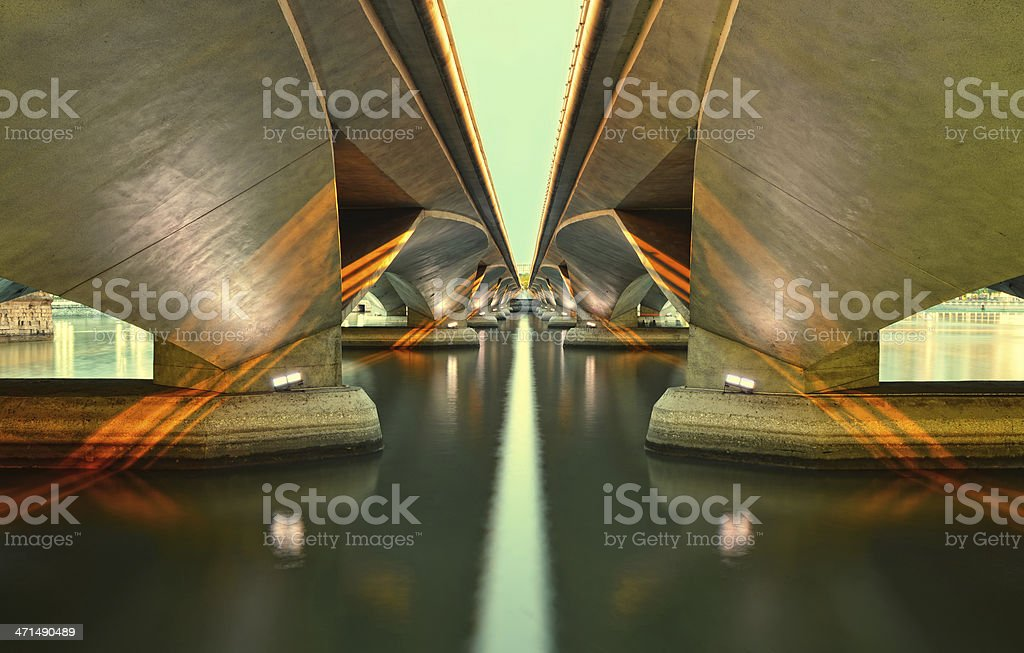 Leading lines of a bridge Singapore royalty-free stock photo