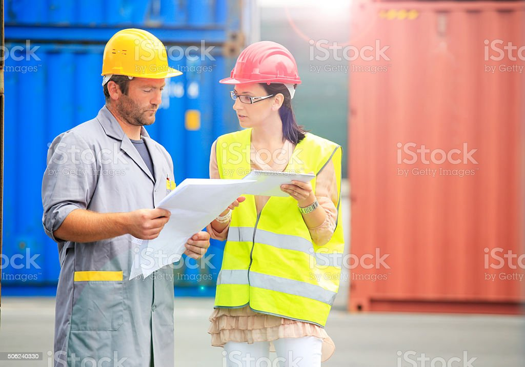 Leading woman in man business stock photo